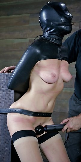 Slave gets leather cuffs on her wrists and master puts a whip on her tits - 1 10